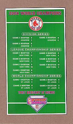 2004 MLB BASEBALL BOSTON RED SOX  PLAYOFF & RESULTS  GAME SCHEDULE
