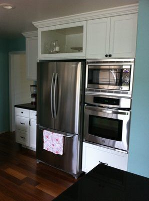 Over Refrigerator Cabinet Options | WillisKitchen.Open Cabinet Above  Refrigerator