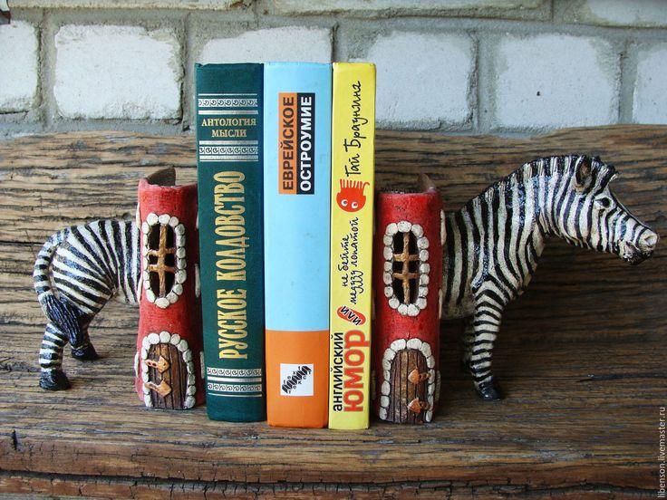 Купить Букенд Зебра - чёрно-белый, красный, зебра, книги, букенд, Керамика