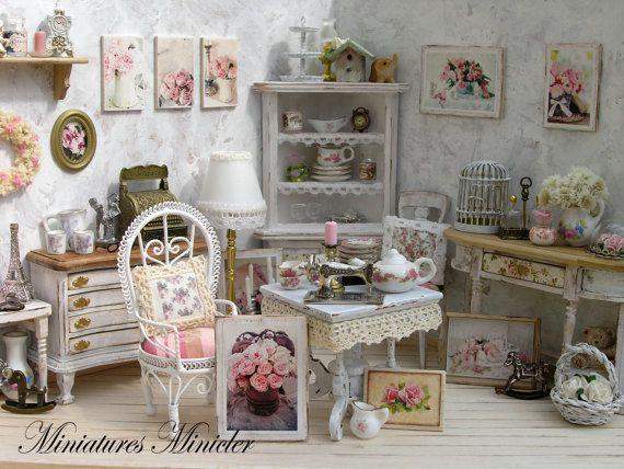 Miniature Dollhouse Parisian Antique Shop Shabby Chic by Minicler