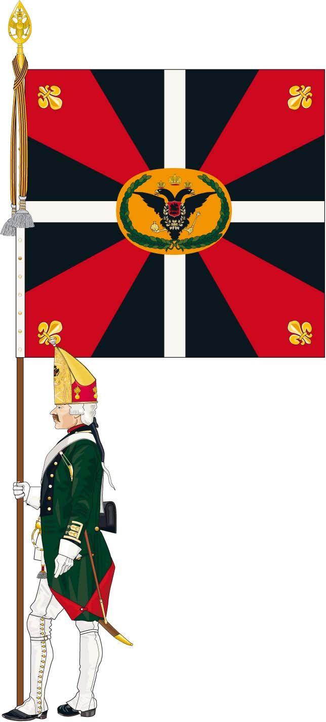 Reconstitution d'un drapeau de bataillon du Régiment des Grenadiers de Bourbon (Armée de Condé, 1797-1800). Infographie : André JOUINEAU. Battalion standard, Régiment des Grenadiers de Bourbon (Armée de Condé, 1797-1800). Infography by André JOUINEAU, in Bulletin des Amis du Musée Condé n°65 (2008). www.imagesdesoldats.com http://www.amismuseecondechantilly.com