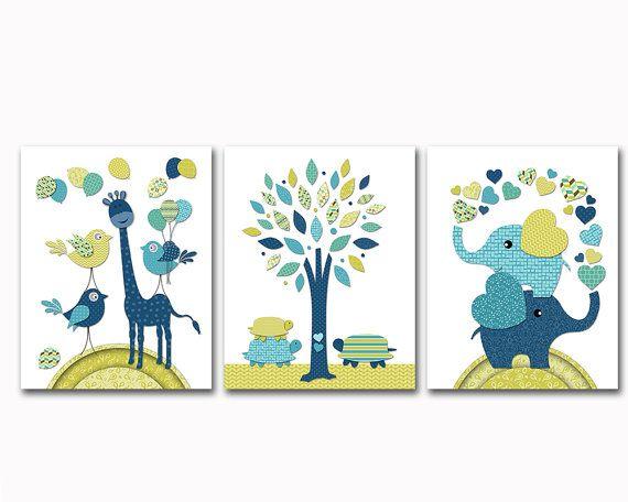 Navy blue green nursery art baby boy room wall by PinkRockBabies