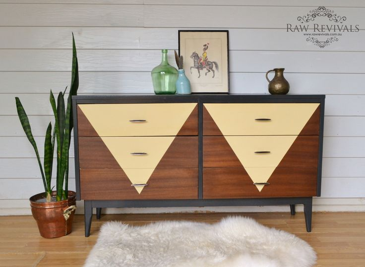 Vintage mid century chest of drawers with geometric feature.  www.rawrevivals.com.au