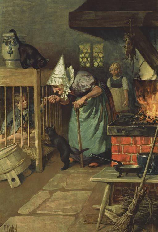 Hänsel & Gretel 4. von 6 Faksimiles im Käfig von O. Kübel Rarität Märchen 5d - Billerantik