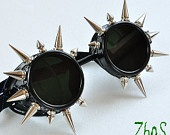 Cyber Goth Goggles Glasses Spikes CyberPunk Industrial Dark Wave Steampunk. $18.99, via Etsy.