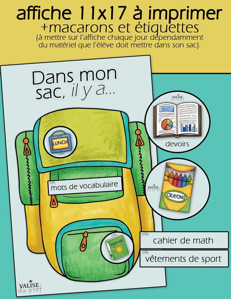 Affiche pour les élèves du primaire: Dans mon sac, il y a...