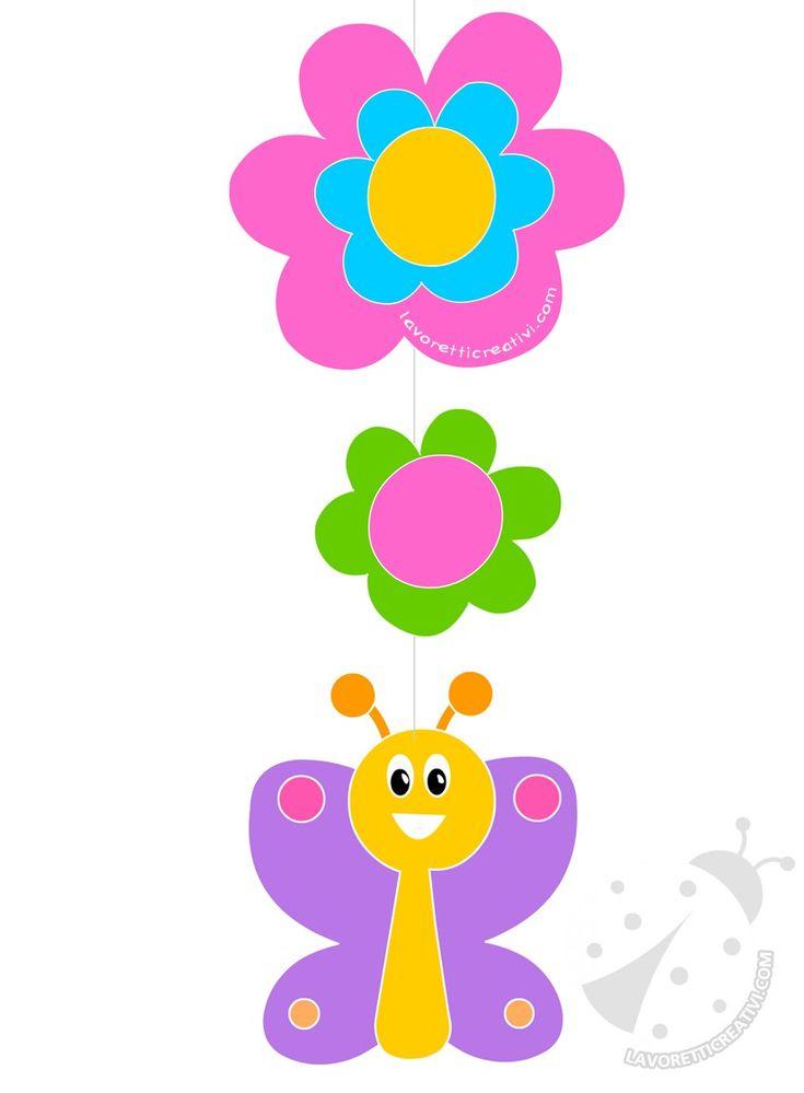 Decorazioni di primavera Farfalla e fiori di carta