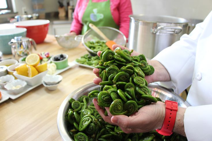 These freshly picked New Brunswick fiddleheads are cleaned, cooked and ready to be devoured. #ExploreNB