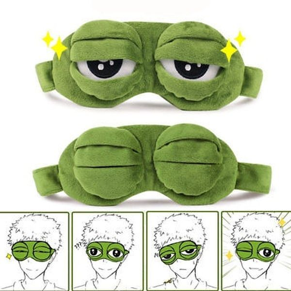 3D Cartoon Frog Sad Sleep Mask Cute Eye Cover Funny Rest Blindfold Sleeping HO3