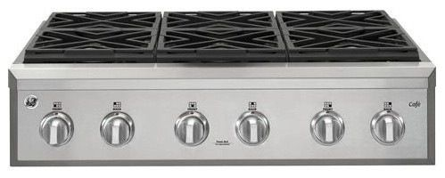 "GE Cafe Series 36"" Gas Rangetop with 6 Burners (Natural Gas) contemporary-cooktops"