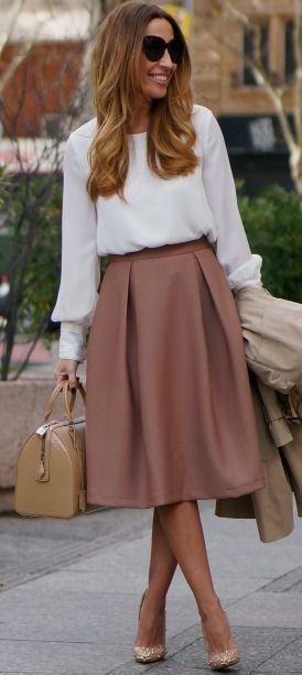 Beige Midi Skirt and White Blouse | Beige and White Winter Classic Street Style | C2T #beige - sleeveless collared blouse, black blouses for work, womens button blouse *sponsored https://www.pinterest.com/blouses_blouse/ https://www.pinterest.com/explore/blouse/ https://www.pinterest.com/blouses_blouse/high-neck-blouse/ http://www.loft.com/blouses/cat640046