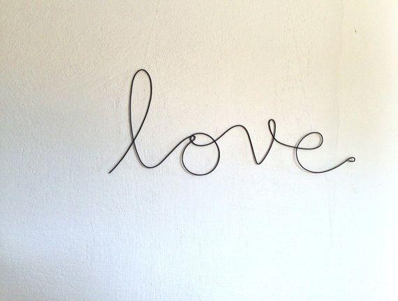 """Soft cursive """"love"""" wall phrase black aluminium wire"""