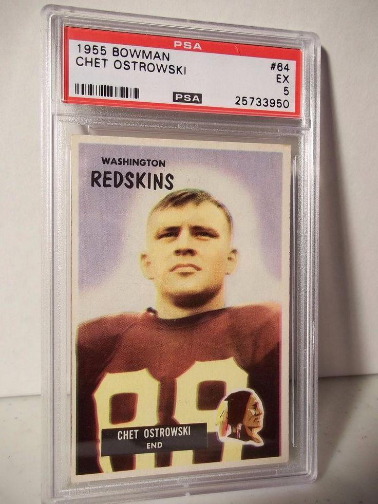 1955 Bowman Chet Ostrowski PSA EX 5 Football Card 64 NFL