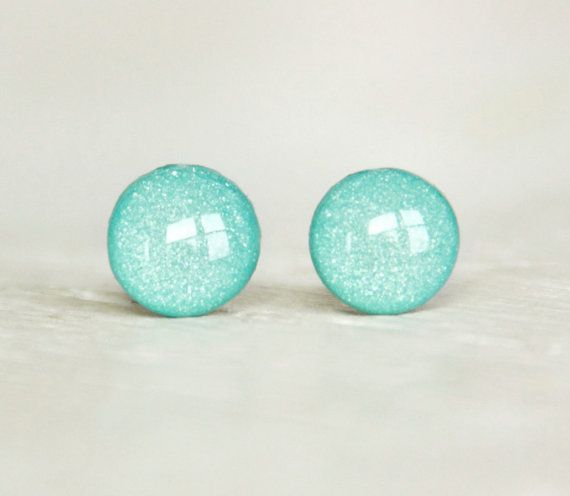 TIFFANY BLUE - Stud Earrings - Small Round Earrings in Shimmer Tiffany Blue - Summer Spring Wedding Earrings by EarSugar on Etsy, $12.00