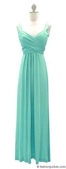 :As Seen In US WEEKLY: Long Crossover Fauxe Wrap Vintage Inspired Jersey Bridesmaid Dress-Mint
