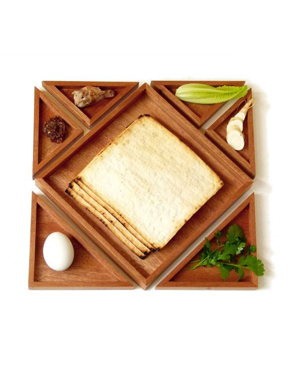 Tangram Passover Seder plate, Modern Seder plate and Matzah tray,design Playful Judaica,geometric style,Wedding gift, Wood Matza tray