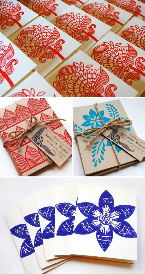 These are Block Printed Cards by Katharine Watson from Paper Crave - Absolutely gorgeous inspiration for student-made gifts this winter.