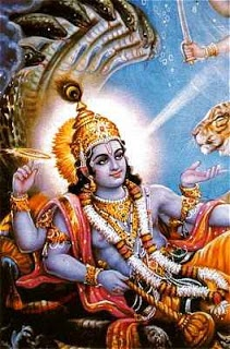 Vishnu. One of the Trimurti (the holy trinity of Hindu gods), Vishnu is the Preserver, protecting the world. When needed, Vishnu descends to Earth as an avatar, or incarnation. Nine have appeared so far: Matsya (fish), Kurma (tortoise), Varah (boar), Narasimha (man-lion), Vamana (dwarf), Parashurama, Rama, Krishna, and Buddha. A tenth, Kalki, will appear with a flaming sword to save humans from the darkness. Some cult followers worship Vishnu as Narayana, the primal being.