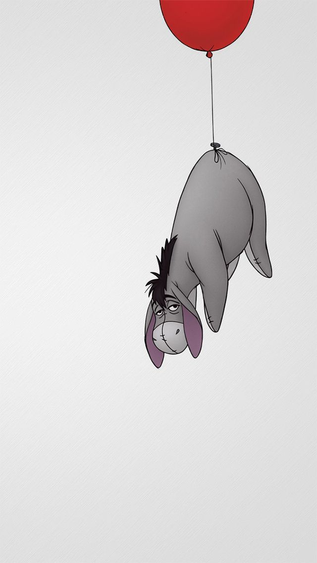 !!TAP AND GET THE FREE APP! Cartoons Animals Donkey Balloon Eeyore Sad Flying Grey Disney HD iPhone 5 Wallpaper