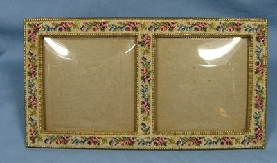 Petit Point Double Picture Frame Schildkraut 1969 Gilded Metal