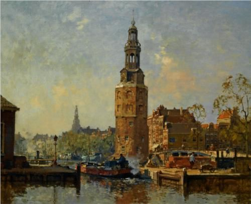 A View of the Montelbaanstoren Amsterdam - Cornelis Vreedenburgh