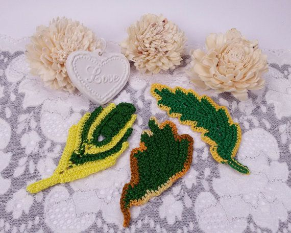 3 green crochet leaves sewing leafs autumn gift by Rocreanique on Etsy