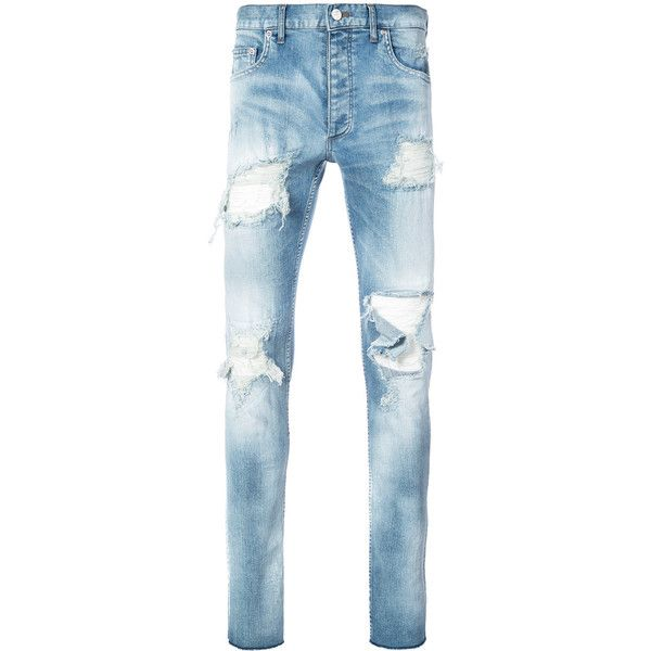 Fagassent distressed skinny jeans ($1,245) ❤ liked on Polyvore featuring men's fashion, men's clothing, men's jeans, blue, mens blue ripped jeans, mens torn jeans, mens blue jeans, mens distressed jeans and mens skinny fit jeans