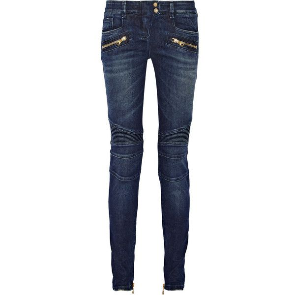Balmain Moto-style distressed low-rise skinny jeans (1 930 BGN) ❤ liked on Polyvore featuring jeans, blue, stretchy skinny jeans, stretch denim skinny jeans, blue jeans, low rise jeans and distressed jeans