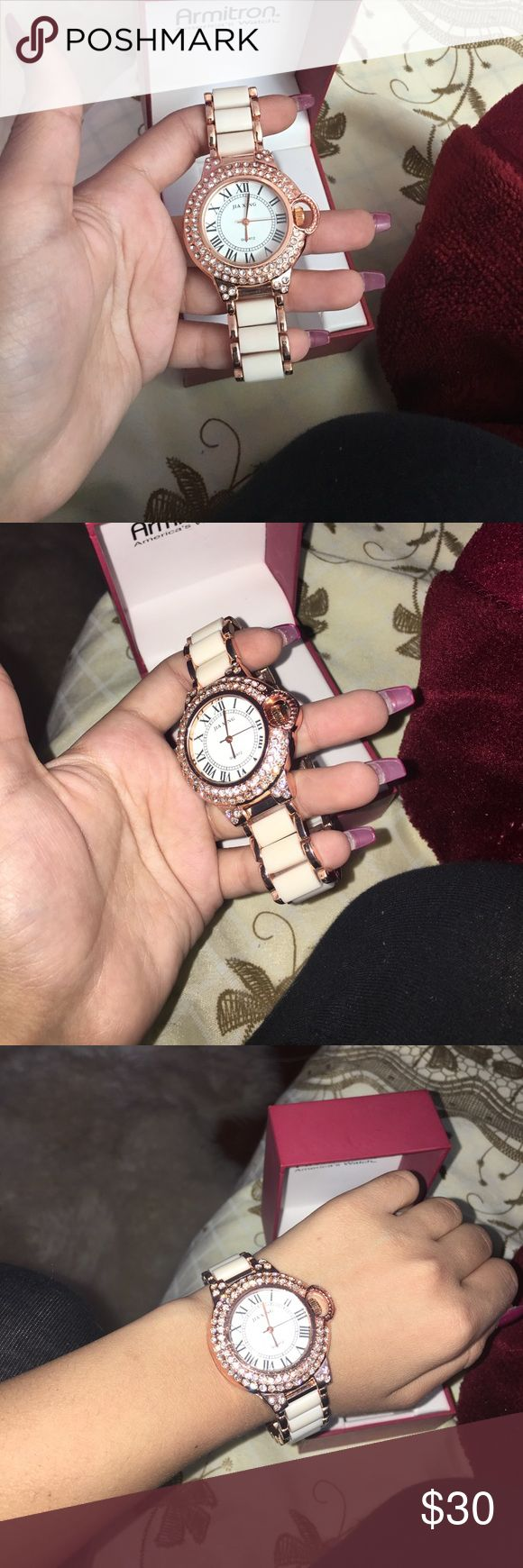 White and gold watch for sale White and gold Armitron watch for ladies brand new Armitron Accessories Watches