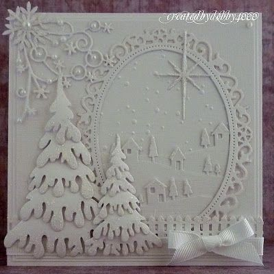 handmade card with a Christmas snow scene ... gorgeous masterpiece!!! ... all white, all die cuts, all shimmery, all delightful!!!