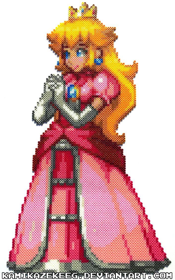Princess Peach Perler Beads By Kamikazekeeg Perler Bead Disney Perler Beads Perler Bead Mario
