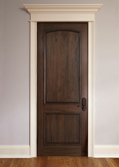 Dark wood Interior Door with white moulding.  I am going to go with darker walls though.