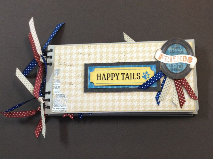 """Chipboard book made with Bo Bunny's """"Happy Tails"""" collection."""