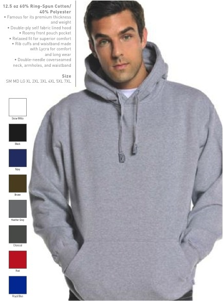 32ff7e9afd Pro Club Fleece Pullover Hoodie. Colors and sizes are shown. Go to  ProClubGear.com.