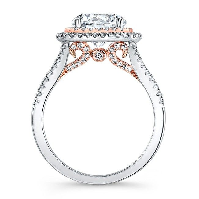 Split Shank Halo Rose Gold Engagement Ring
