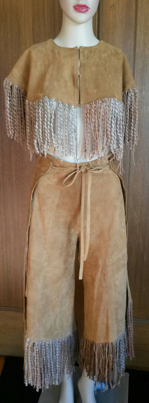 COWGIRL CHAPS Authentic Texas Real Suede Chaps and Cape Texas Rodeo Burning Man Adjustable Brown Gaucho Pant size 0 to 10 Lined Handcrafted