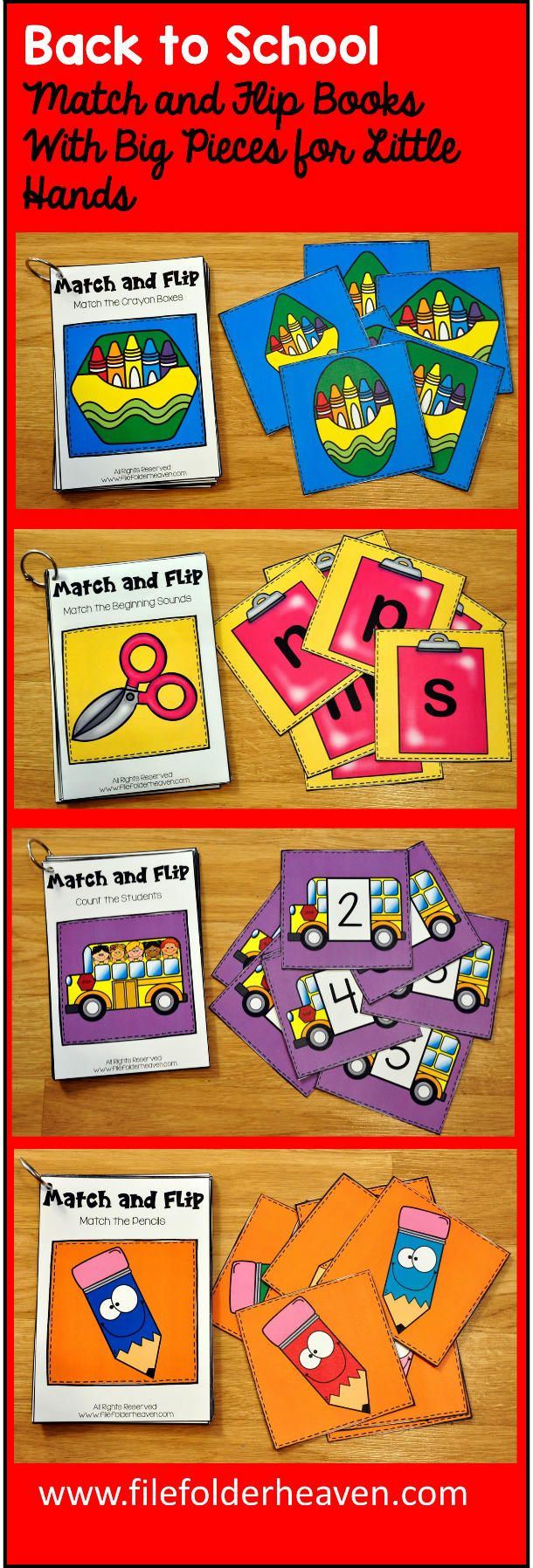 These Matching Activities: Back to School Match and Flip Books focus on basic matching skills. In these activities, students work on matching picture to picture (or by shape), matching by color, matching by counting, and matching by beginning sound.  There are four Match and Flip Books included in this download.  Match the Crayon Boxes (Matching Picture to Picture/By Shape) Match the Pencils (Matching By Color) Match the School Supplies to Their Sounds  (Matching By Beginning Sound) Count…