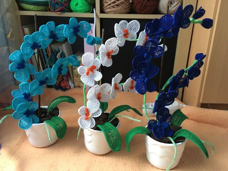 Crocheted orchids I. #orchid #crochet #flowerpot #handmadeart