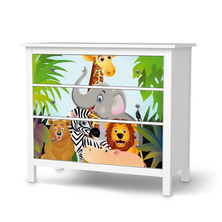 🐵Dschungelzimmer | Jungle Room | Klebefolie Sticker Tapete für IKEA Hemnes Kommode 3 Schubladen | Möbel umgestalten Aufkleber Möbel Möbel-Folie | Schöner Wohnen Jugendzimmer Dekoartikel | Design Motiv Wild Animals