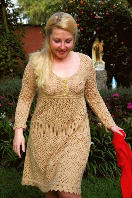 Платье вязаное спицами для полных женщин. Вязание для женщин спицами  