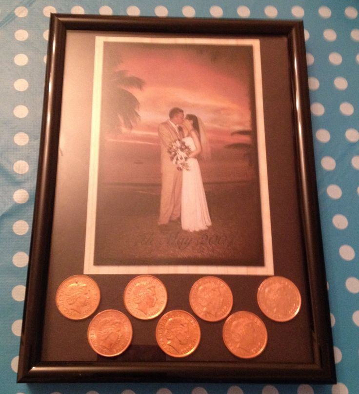 I made this for our 7th wedding anniversary (copper), I was lucky enough to find a penny from each year of our marriage :-)