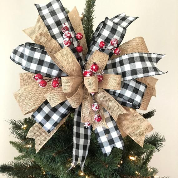 Christmas Tree Topper Burlap Buffalo Plaid Tree Topper Christmas Tree Bows Christmas Tree Topper Bow Diy Christmas Tree Topper