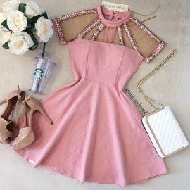 Vestido Larissa  Jacquard Premium C/ BOJO (COR ROSÊ)