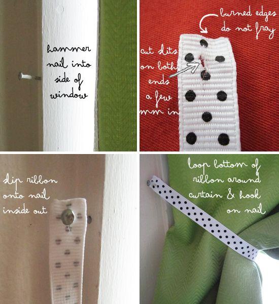 super easy, cute & cheap ribbon curtain holdbacks~