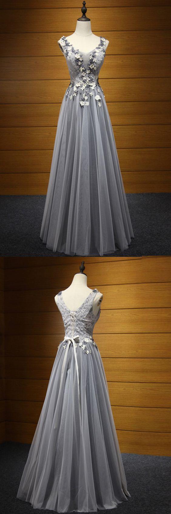 Fashion Grey Prom Dress 3D Flowers Tulle Elegant