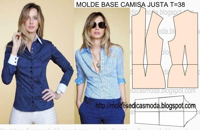 Moldes Moda por Medida: MOLDE BASE CAMISA JUSTA TAMANHO 38
