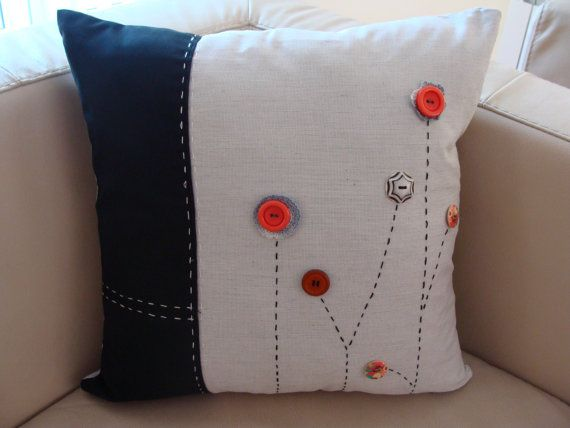 Decorative Pillow Cover with Buttons and Stylized Flowers, Unique Model, Modern, Handmade,Lovely Pillow, Modern Design, Livingroom Pillow