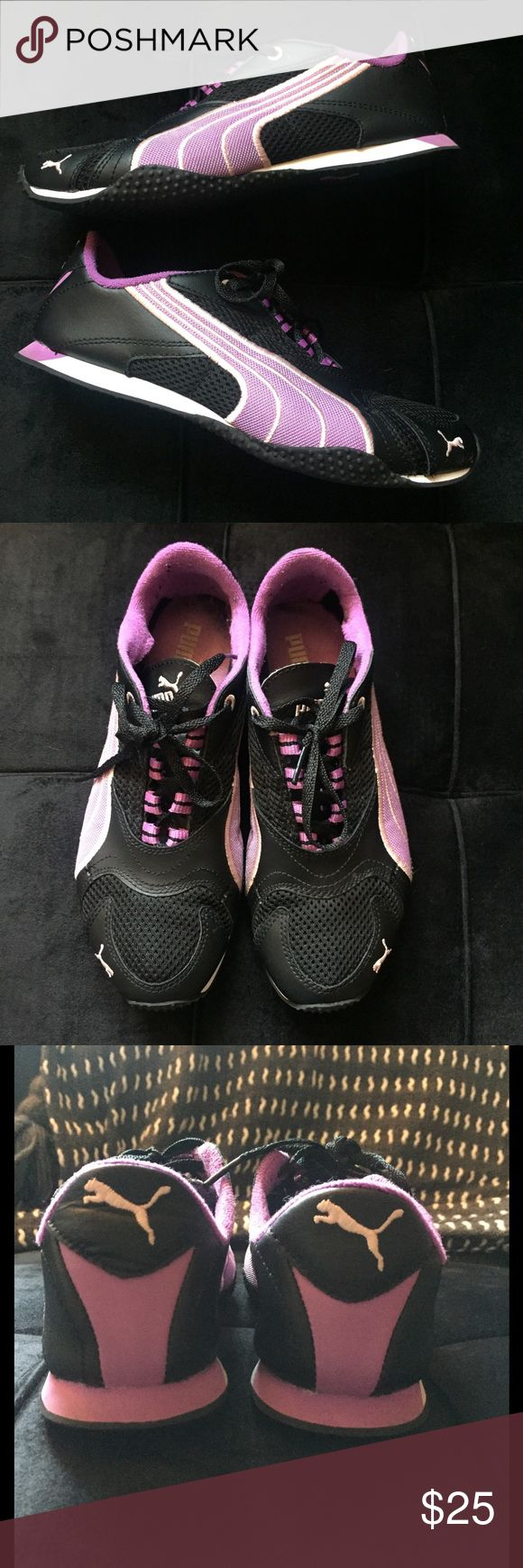 PUMA Lightweight Mesh H Street Sneakers Women's H Street sneakers in black & purple. Lightweight mesh. Black laces. In good condition. NO TRADES. Also available in white & green option in my closet! Puma Shoes Athletic Shoes