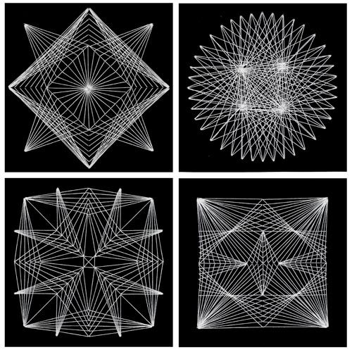 This project shows you how to make intricate Geometric String Art with just card stock, a needle and white string.