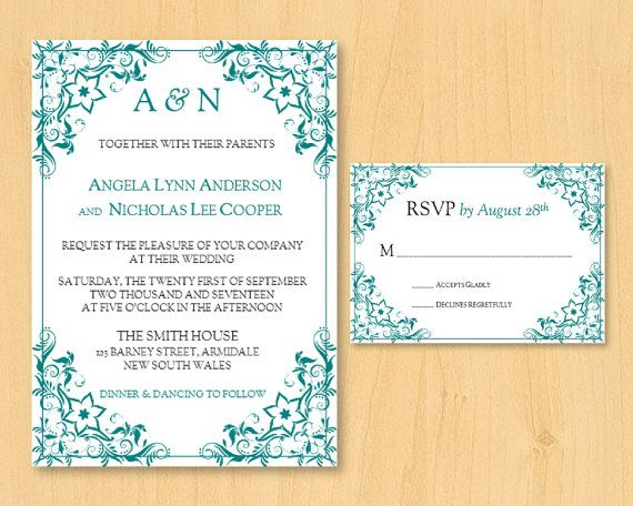 DIY wedding printable invitation response by DIYWedTemplate